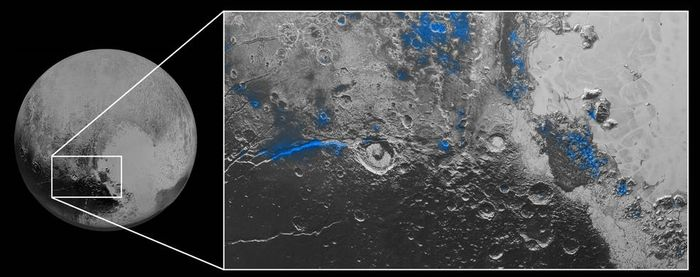 Water ice has been spoted on Pluto's surface.