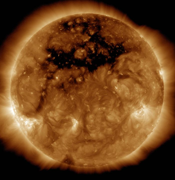 A large coronal hole has been spotted on the surface of the Sun.