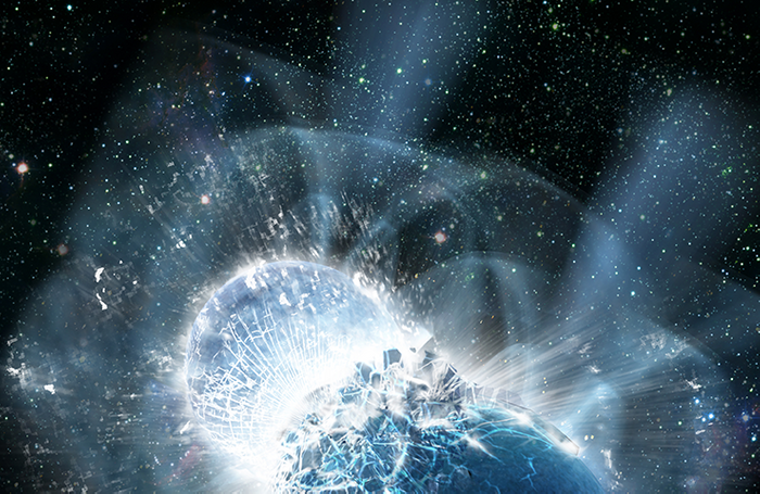 An artist's impression of two neutron stars colliding.
