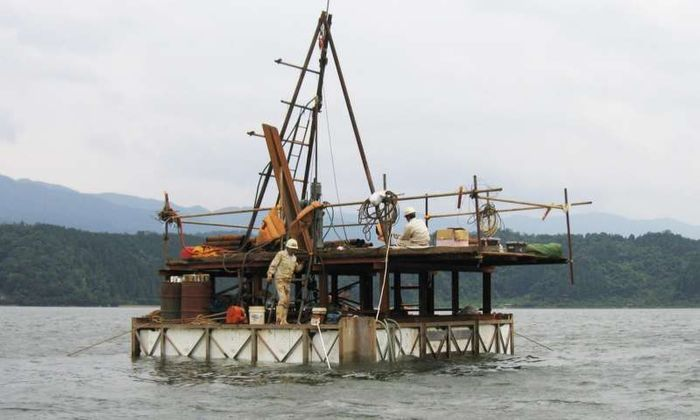 This is a sediment sampling on Lake Suigetsu, Japan. Photo Credit: A. Brauer, GFZ