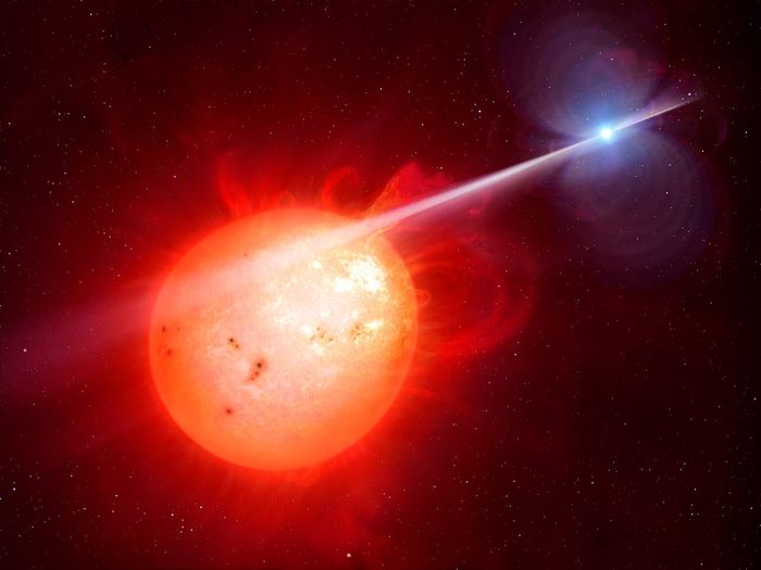 An artist's rendition of the white dwarf lashing out at its companion red dwarf.
