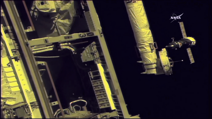 An image of the Soyuz spacecraft docking with the International Space Station on Wednesday.