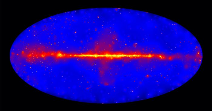 This image shows how the entire sky appears in gamma-ray light at energies between 50 billion (GeV) and 2 trillion electron volts (TeV).  Credit: NASA/DOE/Fermi LAT Collaboration