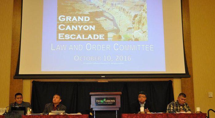 Navajo Nation council delegates listen to a presentation about the Grand Canyon Escalade. Photo: Emery Cowan