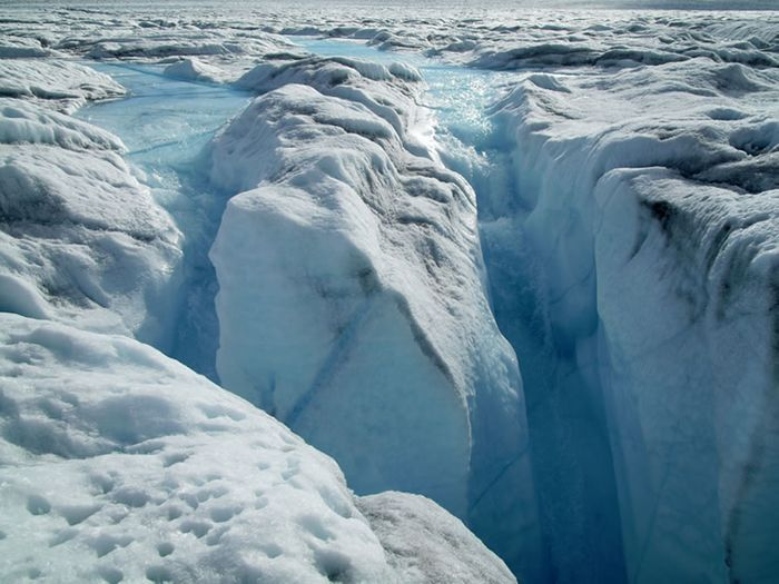 Meltwater rivers on top of Greenland's ice sheet. Source: dailysciencejournal.com