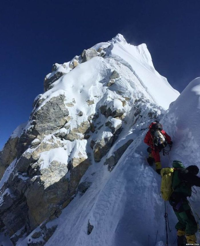 """British mountaineer Kenton Cool took this photo of the Step last year, he said it looked """"different"""". Photo: Kenton Cool"""