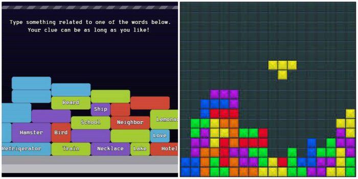 image of Semantris Blocks and classic Tetris, credit: Google and public domain
