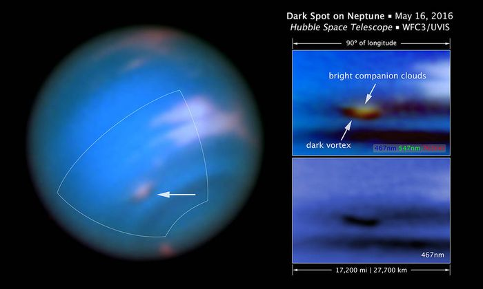 A newly-discovered dark spot has appeared in Neptune's atmosphere for 21st century observation equipment to look at.