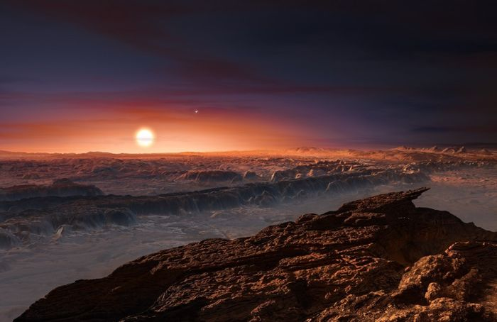 An artist's impression of the surface of Proxima b.