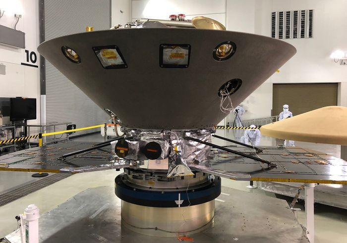 NASA's InSight spacecraft undergoes final preparations at Vandenberg Air Force Base in California.