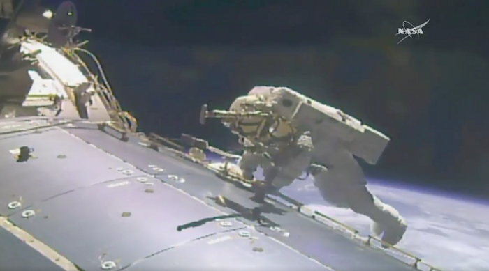 Astronaut Jack Fischer is pictured outside of the International Space Station during the Friday spacewalk.