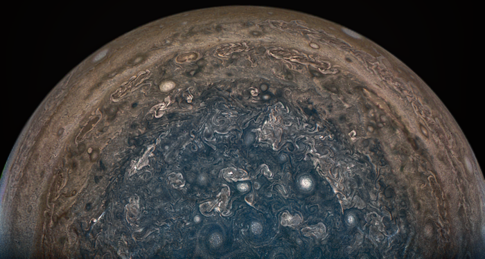 A picture of Jupiter's South Pole, as captured by Juno.