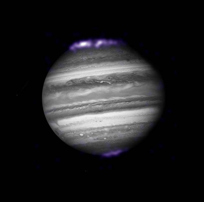This infrared image taken of Jupiter in 2007 shows its aurora glowing intensely.