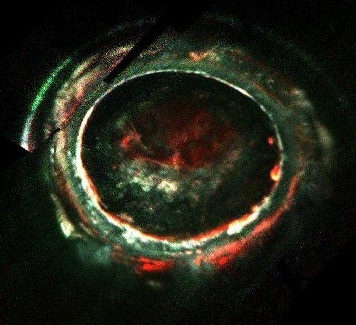 An image captured via Juno's Ultraviolet Imaging Spectrograph of Jupiter's intense aurora.