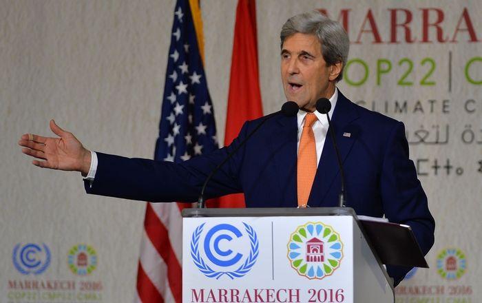 Kerry speaks at Marrakech. Photo: Tribu Magazine