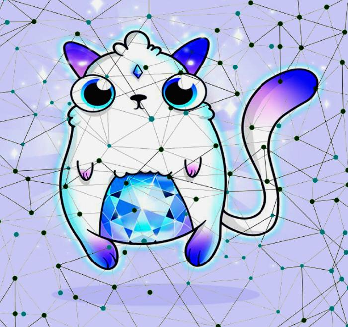collage: blockchain illustration, Cryptokitties image, credit: public domain, Steven Yan on YouTube