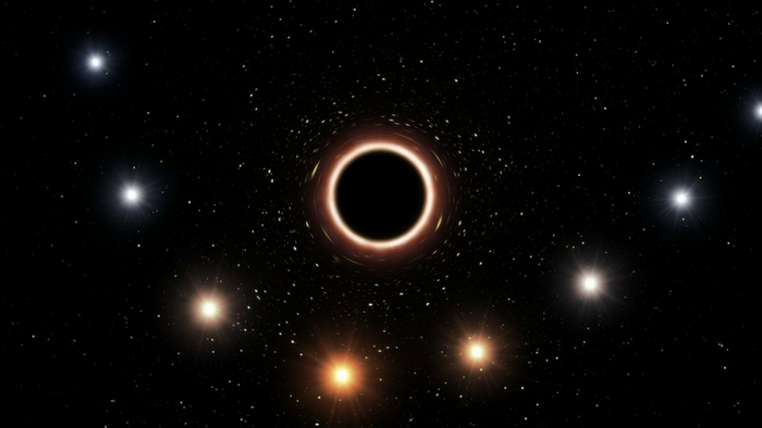 An artistic rendition of the star S2 escaping from the  black hole Sagittarius A* (ESO)