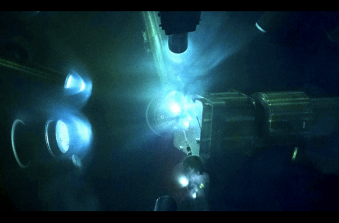 Inside the target chamber lasers were used to compress iron-silicon samples to mimic the ultrahigh pressures at the cores of super-Earths. (Laboratory for Laser Energetics)
