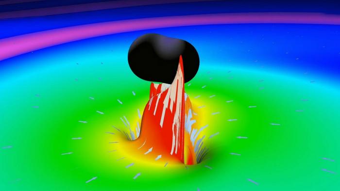 Simulation of two merging black holes (LIGO/LabCaltech)