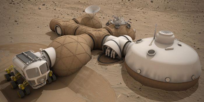 A concept of a 3D-printed Martian habitat.