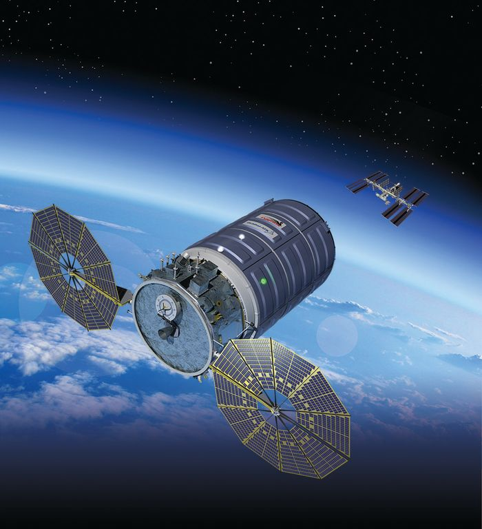 An artist's rendition of the spacecraft resupplying the International Space Station.