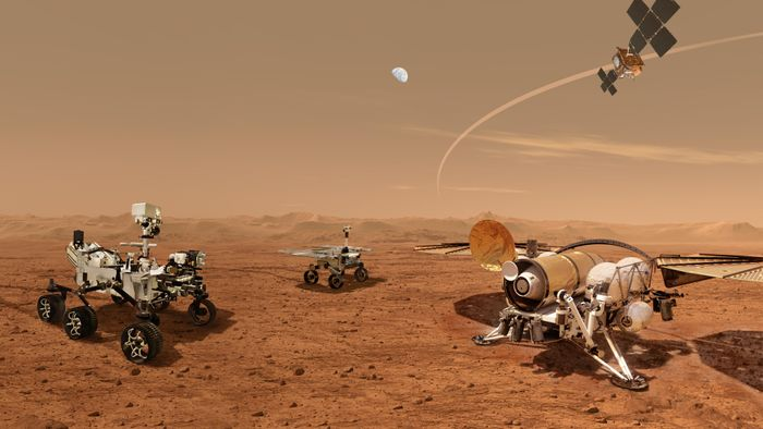 A rendering of what a Martian sample retrieval team might look like.