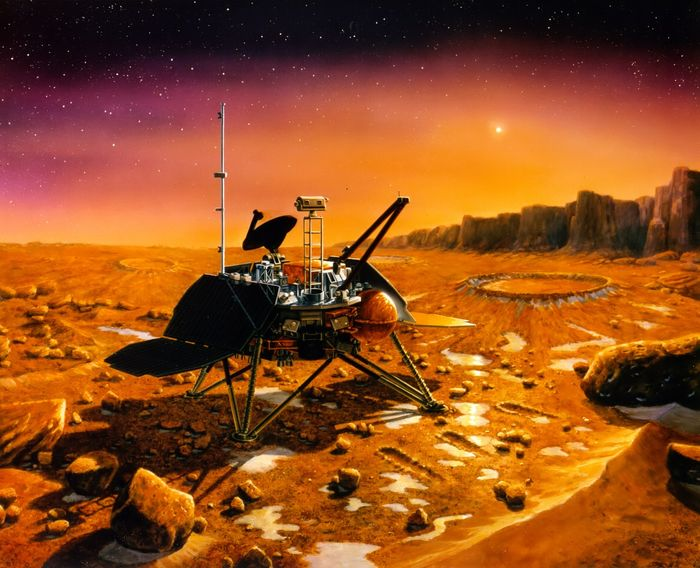 An artist's impression of a Martian lander.