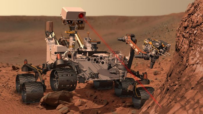 An artist's impression of the Mars Curiosity rover using its laser to fire at a rock.