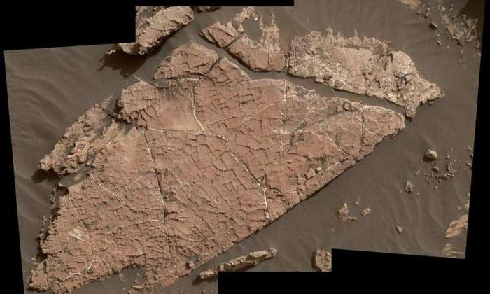 This stone slab on the Martian surface may be riddled with cracked mud fragments, suggesting evidence for water nearly 3 billion years ago.
