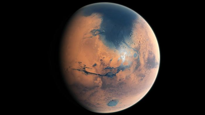 An artist's impression of what Mars' Northern hemisphere-based ocean may have looked like billions of years ago.