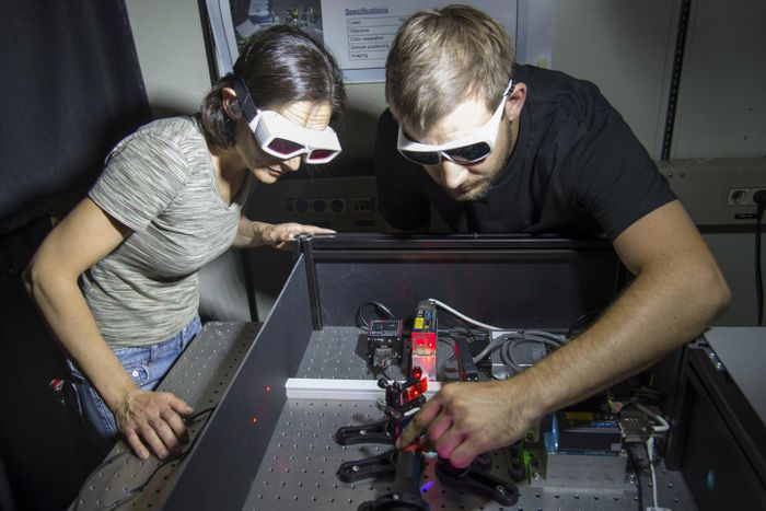 Dr. Zeynep Oekten and co-author Willi L. Stepp at the fluorescence microscope they use to observe the motor proteins running along the microtubules (see video). / Credit: Andreas Battenberg / TUM