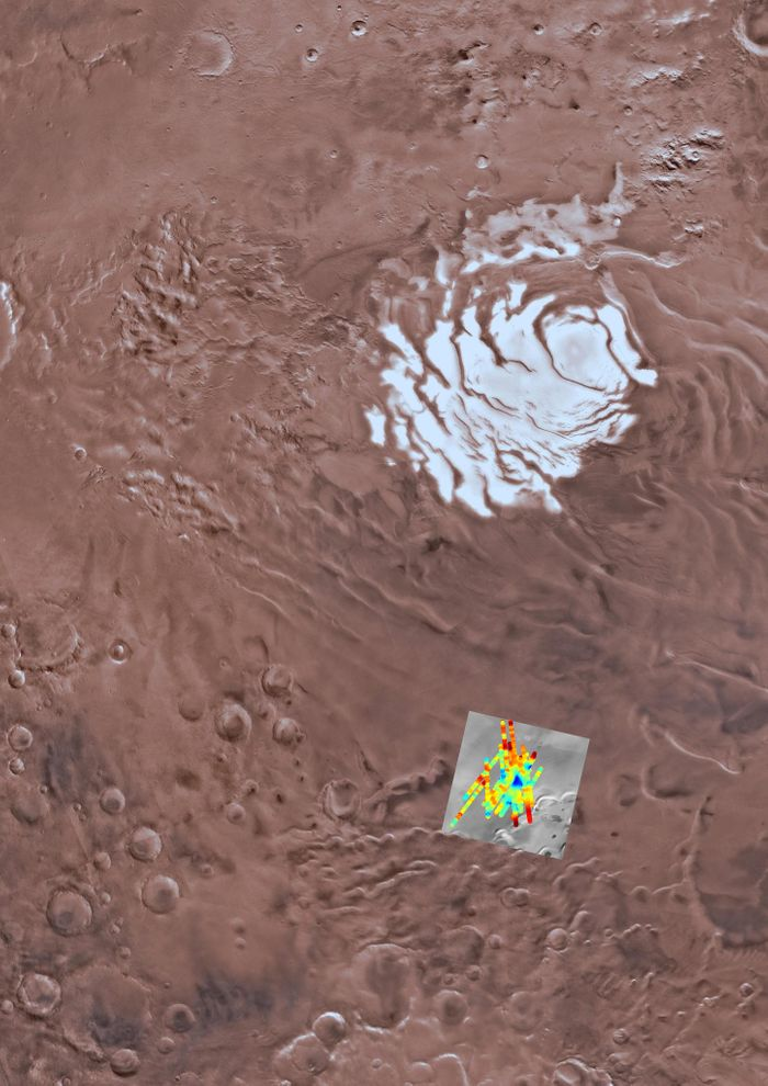 Here we see the potential liquid water stores underneath Mars' polar ice caps.