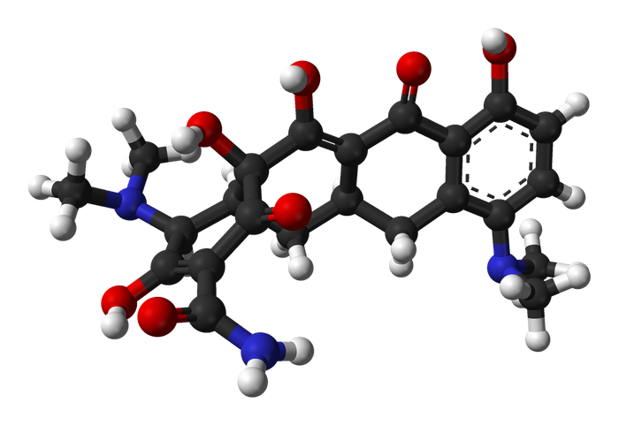Ball-and-stick model of the minocycline molecule, C23H27N3O7.