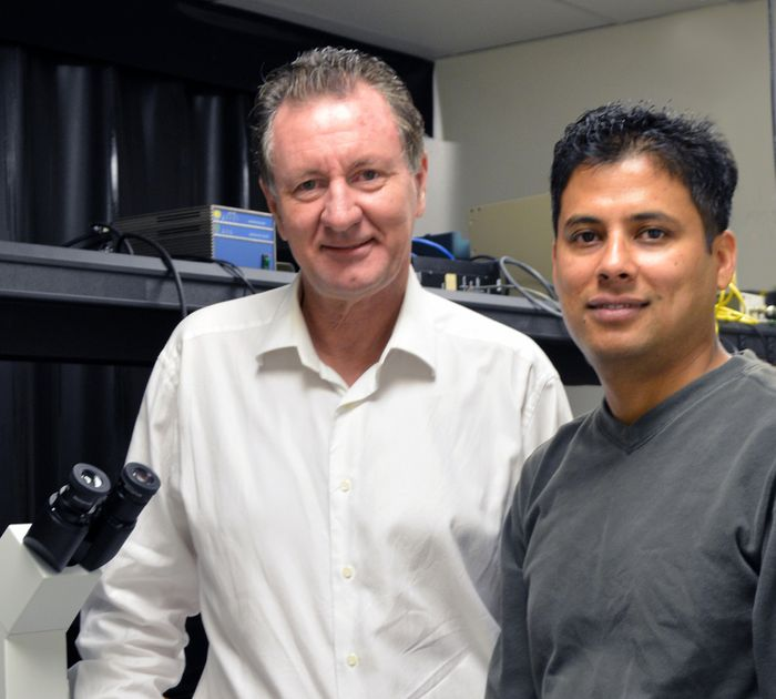 The Scripps Research Institute's Professor David Millar (left) and Research Associate Rajan Lamichhane were among the authors of the new paper.