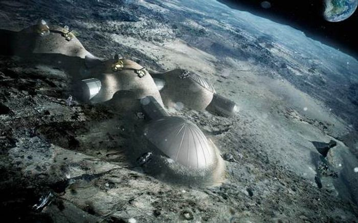 An artist's impression of a human habitation on the Moon.