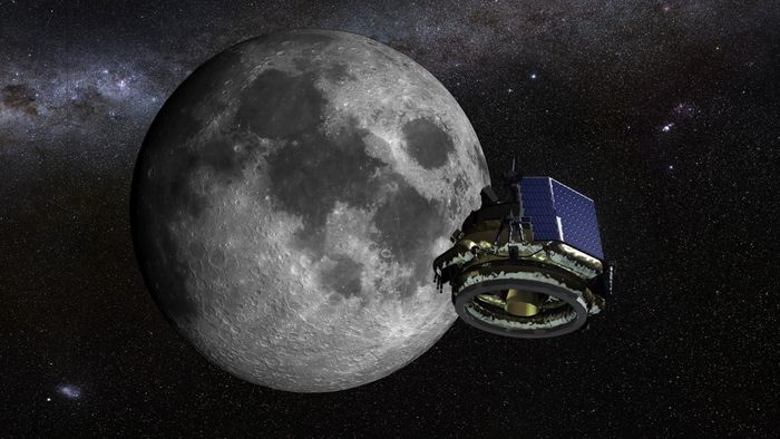 An artist's impression of a Moon Express lander heading to the Moon.