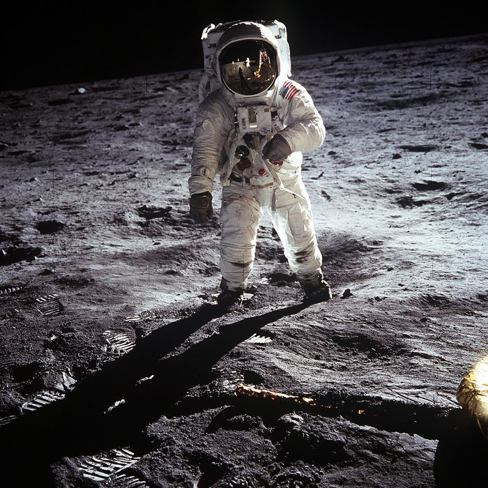 A famous astronaut photo captured during the Moon landing from the Apollo 11 mission.