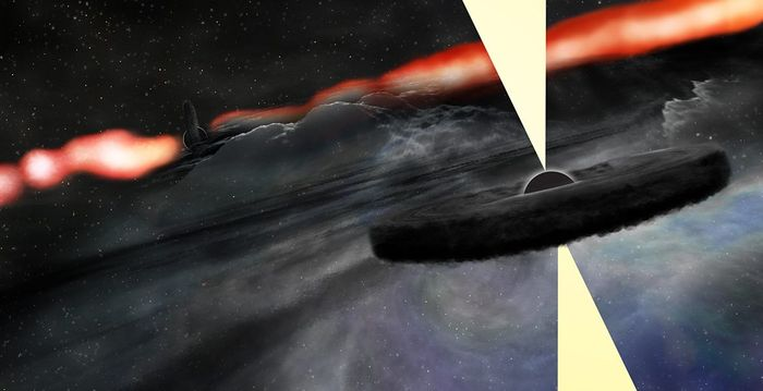 An artist's impression of a supermassive black hole orbiting the even larger supermassive black hole at the center of the Cygnus A galaxy