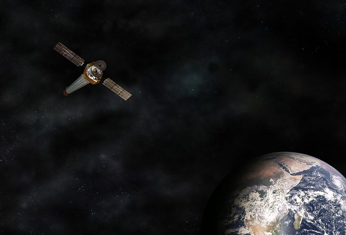An artist's rendition depicting the Chandra X-ray Observatory orbiting the Earth.