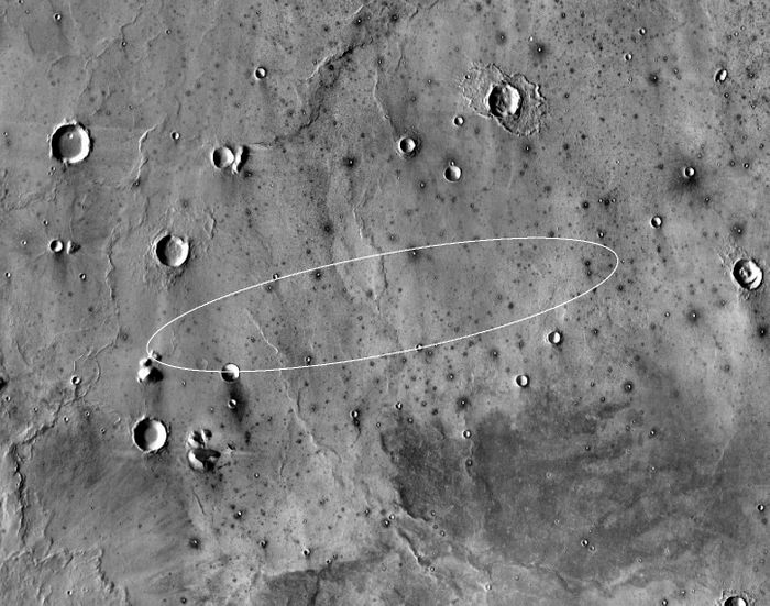 The circled region, known as Elysium Planitia, is where NASA expects to land the InSight mission later this month.