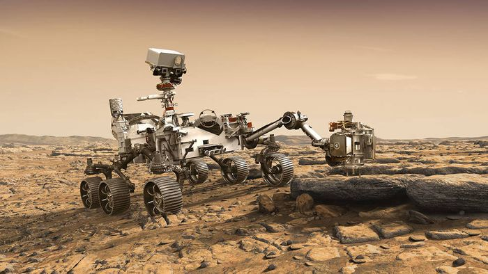 An artist's rendition of the Mars 2020 rover on Mars, as it samples a rock on the planet's surface.