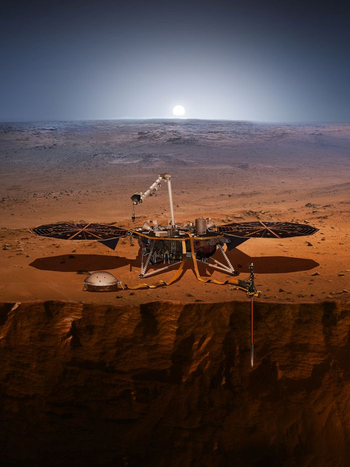 An artist's rendition of the InSight probe after deploying on Mars.