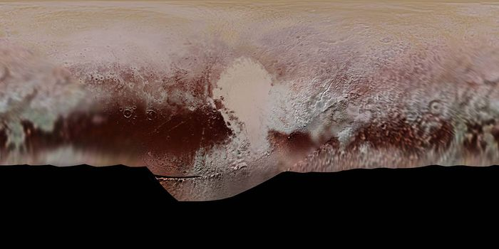 NASA made this mosiac of Pluto's surface to show its unique color patterns as discovered by New Horizons during its closest approaches.