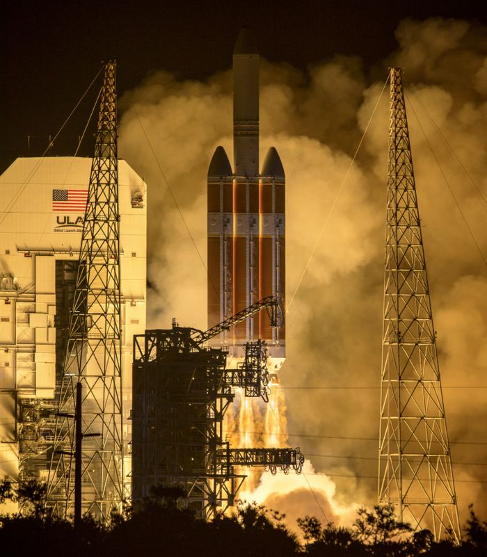 The United Launch Alliance rocket lifts the Parker Solar Probe into space on Sunday.