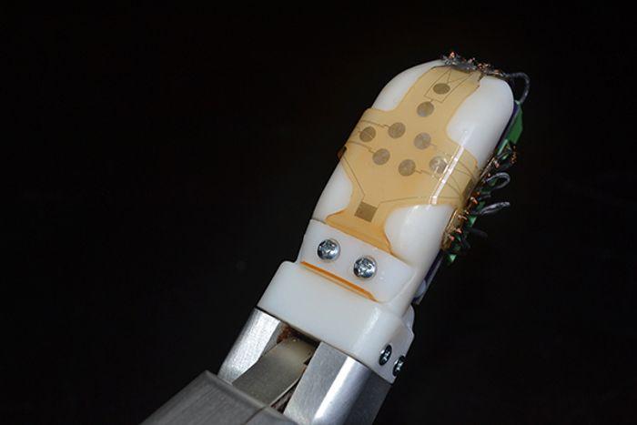 sensor skin on robotic finger, credit: UCLA Engineering