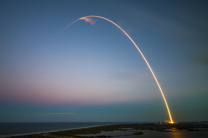An image of a SpaceX Falcon 9 rocket launching from Cape Canaveral, Florida.