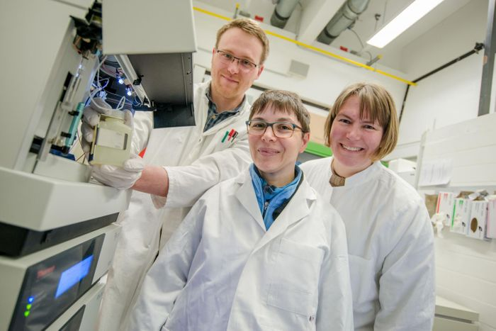 This is Christoph Senges, assistant professor Dr Minou Nowrousian and Prof Dr Julia Bandow at Ruhr-Universität Bochum (from left to right). / Copyright/Credit: RUB, Marquard