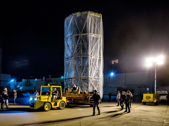 This is the chassis of the James Webb Space Telescope, neatul folded into a mobile clean room for transportation.