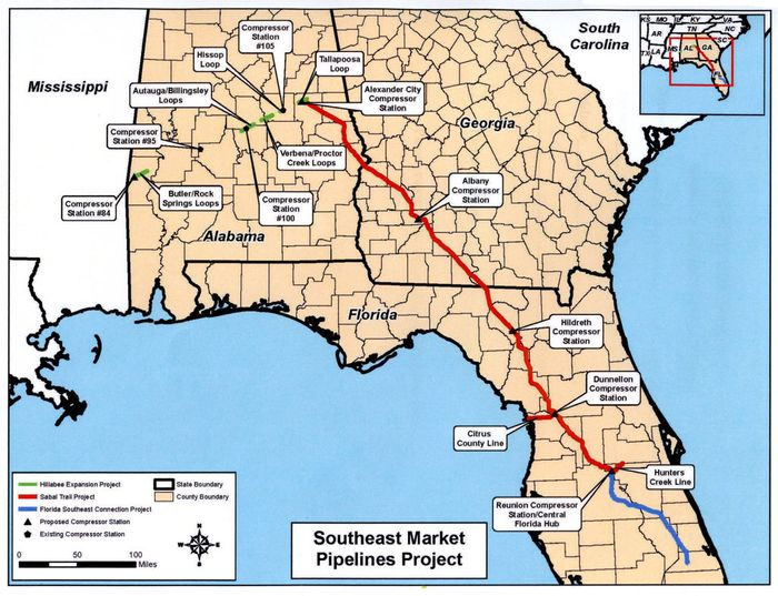 The red line shows the Sabal Trail Pipeline. Photo: Albany Herald