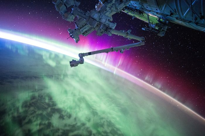 One of the biggest sources of radiation for International Space Station astronauts is the Sun. When solar storms occur, the Northern Lights illuminate the skies on Earth as the radiation slams into the Earth's atmosphere.